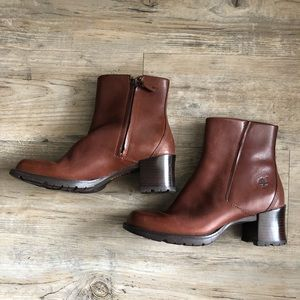 Timberland brown Leather Ankle boots heeled 5.5